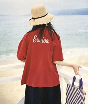 サニークラウズ後ビッグ刺繍オーバーサイズ赤ポロシャツ(M)新品