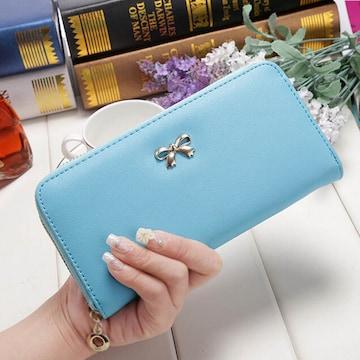 ★長財布(小銭入れ付き)♪蝶結び財布♪Sky Blue
