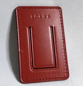 正規新古レア ロエベLOEWE ロゴ文字 レザーマネークリップ赤 レッド 財布 ウォレット