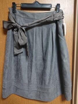 ナチュラルビューティー昨季新品グレージュスエード調フレアスカート大きいサイズ13号
