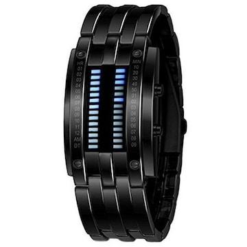デジタル 腕時計 スポーツウォッチLEDライト(ブラック)
