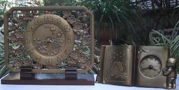 アンテックコレクション:/高級置時計,2種livin,quartz中古品!!