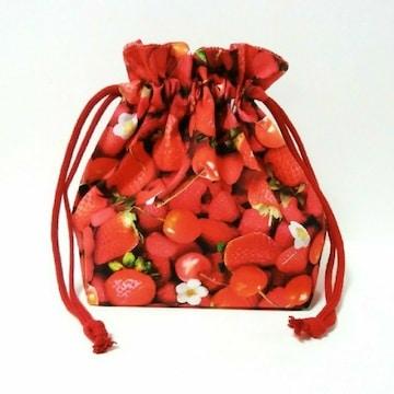 3-373 リアルイチゴ柄 可愛いお弁当袋 送料込み