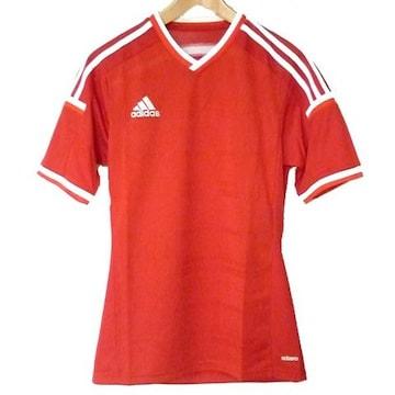 新品●送料無料●adidas 赤VネックアディゼロTシャツ(S)