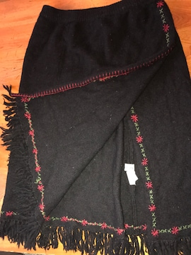 ニート黒 毛100% 巻きスカート サイズM