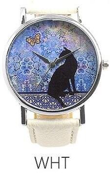 ★黒猫と蝶と水彩アート幻想レディース腕時計T019WHT