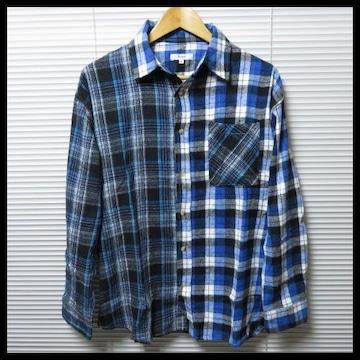 新作 ビッグシルエットクレイジーチェックネルシャツ/BLUE/M