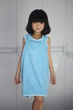子供用 着るバスタオル バスローブ ブルー 1/APM