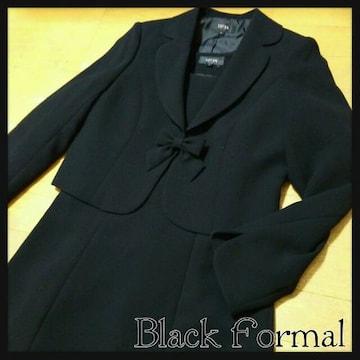 新品同様 ブラックフォーマル スーツ リボン ワンピース ジャケットセット 喪服 礼服 11号
