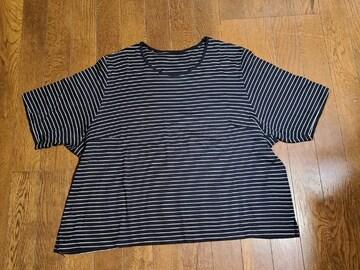 送料無料/大きいサイズ/4L綿100%ブラックボーダーTシャツ