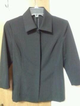 黒ステンカラー8分袖ジャケット厚地国産高級綺麗系細身M7〜9号