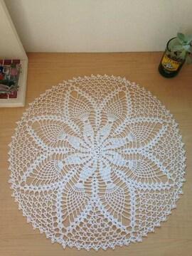 ♪手編み♪パイナップル編みの丸いドイリー   白