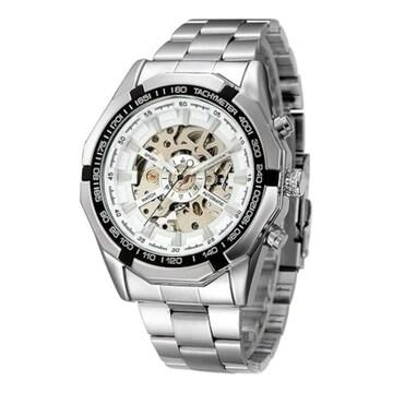 超値引★超人気のクラッシックスケルトン自動巻き腕時計 白