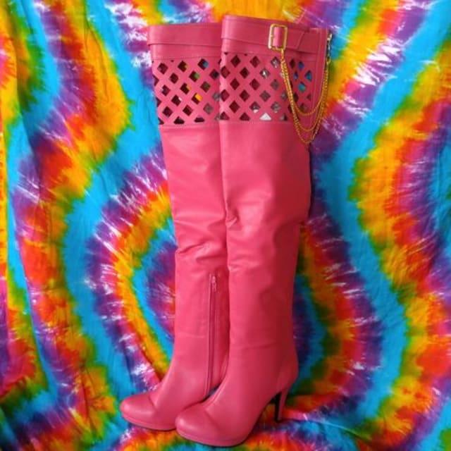激エロッ(*´艸`)太股魅せ♪金チェーン&厚底ニーハイブーツ■LL  < 女性ファッションの