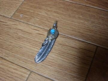 シルバー925 ターコイズ付き フェザーネックレス インディアン
