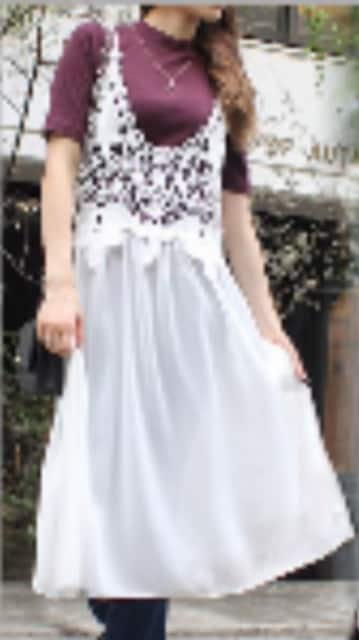 ★新品★未使用涼しげなレースシフォンクロシェワンピース(^^)M  < 女性ファッションの
