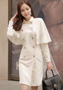 即決春秋冬オシャレデザインの白いコート S ラスト