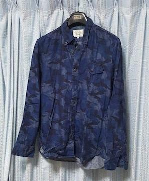 紺系★迷彩柄の長袖シャツ★Mサイズ