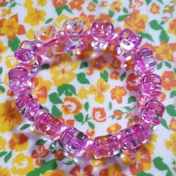 【handmade】ピンクのリボンブレスレット