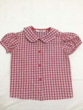 Pastel club☆サイズ90☆半袖チェックシャツ☆日本製☆パフ