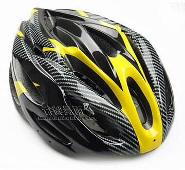 自転車用 サイクリング ヘルメット カーボン/イエロー&ブラック