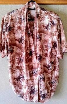 シャツ ブラウス 鮮やか 柄 ブラウン 茶 11号 半袖 洋服