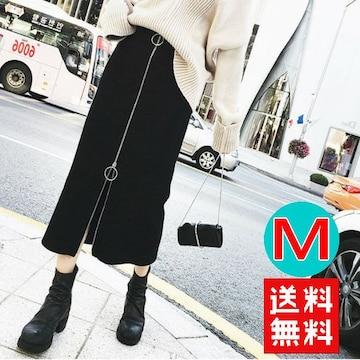 すっきり Iライン フロントファスナーペンシル スカート 黒 M