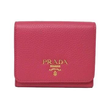 PRADA1MH176  三つ折り財布 VITELLO GRAIN / PEONIA