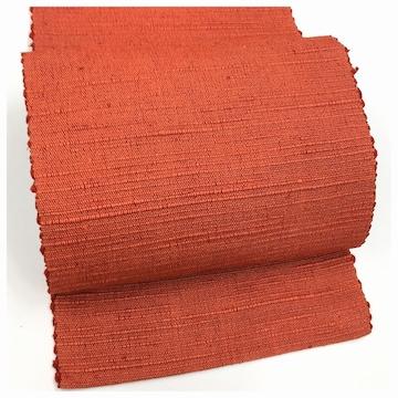 美品 紬 高級呉服 名古屋帯 色無地 赤色 太織り 中古品