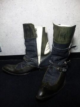 ヒロムタカハラ/ROENサイドジップブーツ靴ブラック/41 1/2ロエン