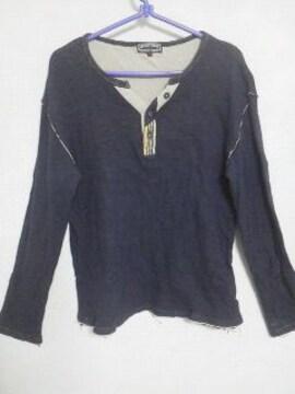 Fー119★<Sale>メンズ長袖カジュアルシャツ ネイビー M