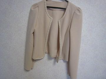 ドレスに♪パール付きボレロ/美品/ベージュ/羽織カーデ/ジャケット