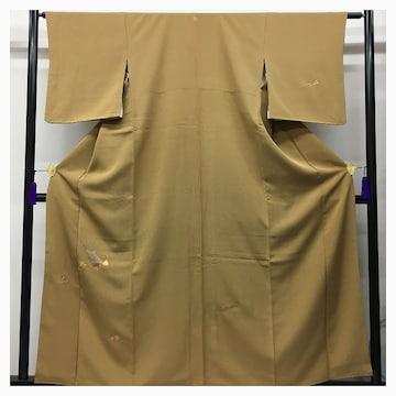 美品 極上 付け下げ 正絹 特選 高級呉服 裄63 身丈160 黄土色 中