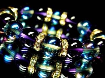 ブルーオーラAAAAアメジスト紫水晶12ミリ金ロンデル数珠