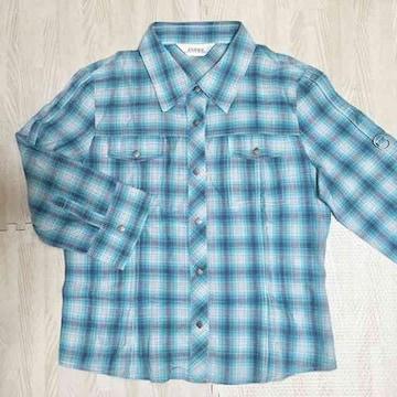 【used】7分袖チェック柄シャツ/水色/M/2WAY/羽織り物に