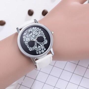 腕時計 ホワイト レディース おしゃれ ガイコツ かっこいい スカ
