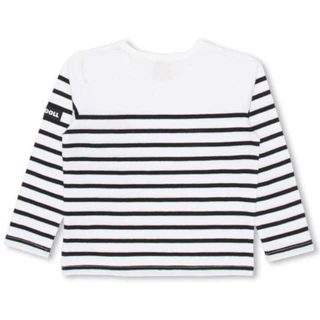 新品BABYDOLL☆110 ボーダー ロンT 白×黒 Tシャツ ベビードール < ブランドの