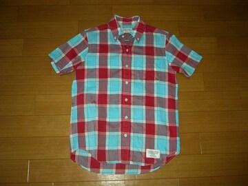 WACKO MARIAワコマリア半袖チェックシャツS赤水色系GUILTY