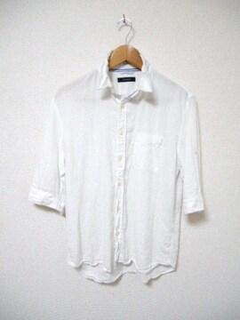 □RAGEBLUE/レイジブルー 襟ワイヤー入り 麻素材 7分袖シャツ/メンズ/L/白