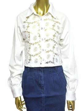 新品短丈花柄レースシャツホワイトM着心地GOOD♪