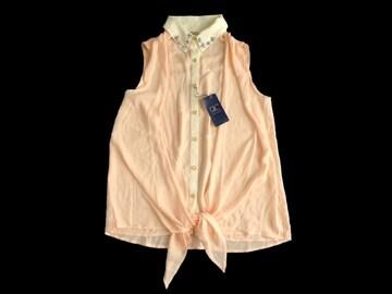 新品 定価3980円 rc  衿ビジュー ノースリーブ シャツ ブラウス
