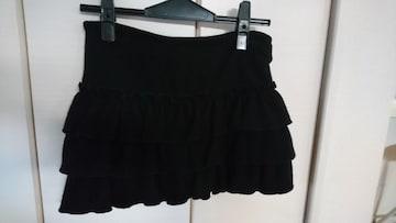 AZUL by moussy  3段フリル ミニスカート 黒
