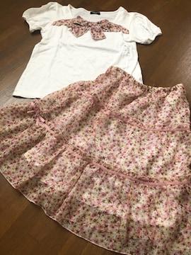 【コムサイズム】ツーピース花柄お嬢様スタイル