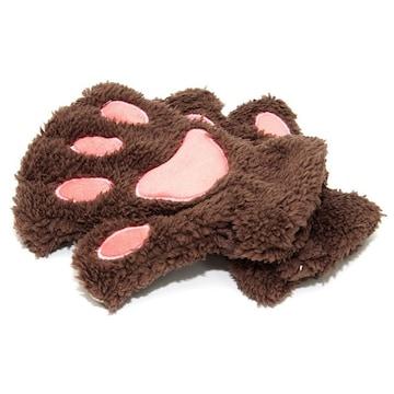 ♪M ふわふわもこもこ かわいい猫の手の手袋 /ブラウン