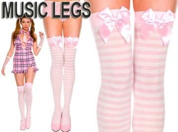 a22)MusicLegsリボンボーダータイツ白ピンクB系ダンスニーハイゴスロリータハロウィンコスプレ