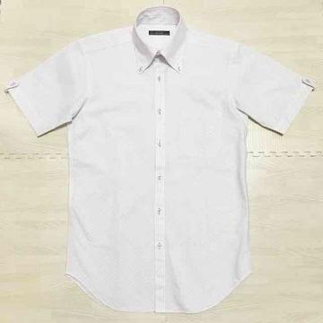 【美品】ストライプ柄 半袖ボタンダウンシャツ/3B/P.S.FA/白×紫