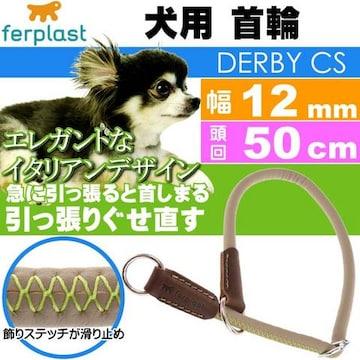 犬 首輪 引っ張ると首がしまる 幅12mm頭回り50cm 緑 Fa5177