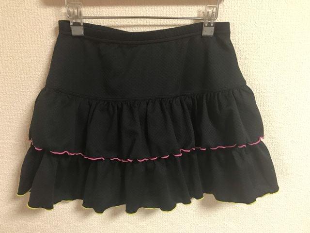 ★VISION QUEST 黒×ピンク&イエローステッチ スポーツスカート  S★ < 女性ファッションの