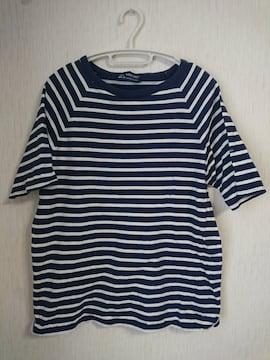 SAINT JAMES☆ボーダー半袖Tシャツ S 紺白 セントジェームス