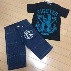 新品◆上下セット◆半袖Tシャツ&デニムハーフパンツ140ドクロ